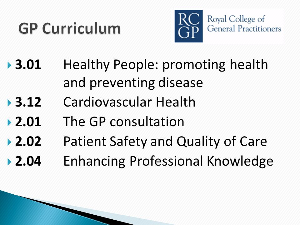  3.01Healthy People: promoting health and preventing disease  3.12Cardiovascular Health  2.01 The GP consultation  2.02Patient Safety and Quality