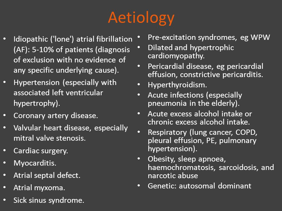Aetiology Idiopathic ('lone') atrial fibrillation (AF): 5-10% of patients (diagnosis of exclusion with no evidence of any specific underlying cause).