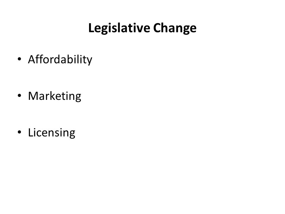 Legislative Change Affordability Marketing Licensing