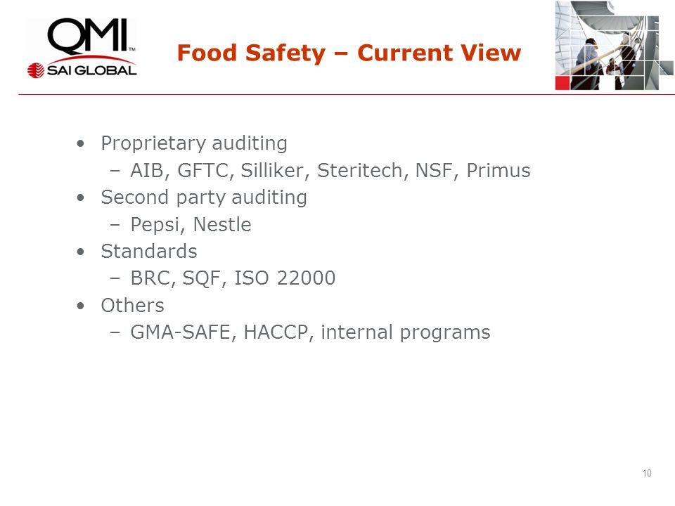 10 Food Safety – Current View Proprietary auditing –AIB, GFTC, Silliker, Steritech, NSF, Primus Second party auditing –Pepsi, Nestle Standards –BRC, SQF, ISO 22000 Others –GMA-SAFE, HACCP, internal programs
