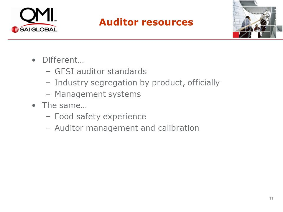 11 Auditor resources Different… –GFSI auditor standards –Industry segregation by product, officially –Management systems The same… –Food safety experience –Auditor management and calibration