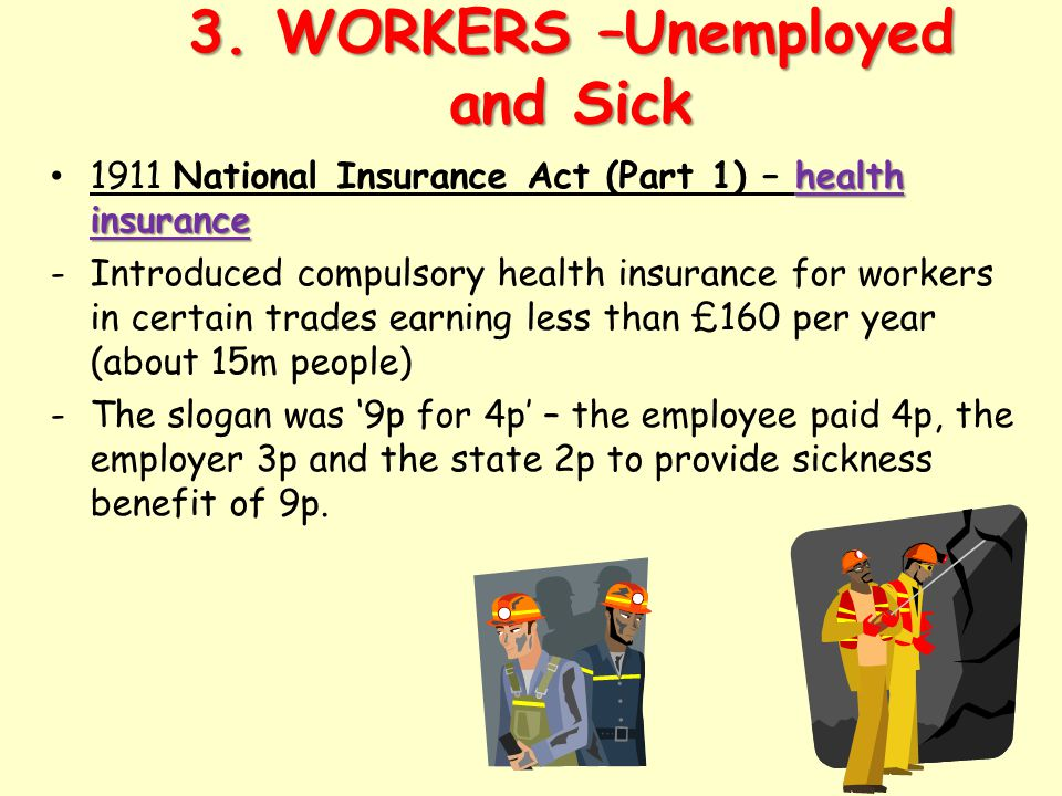3. WORKERS –Unemployed and Sick health insurance 1911 National Insurance Act (Part 1) – health insurance -Introduced compulsory health insurance for w