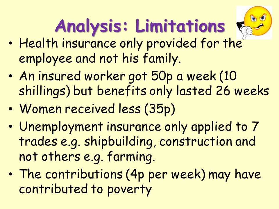 Analysis: Limitations Health insurance only provided for the employee and not his family. An insured worker got 50p a week (10 shillings) but benefits