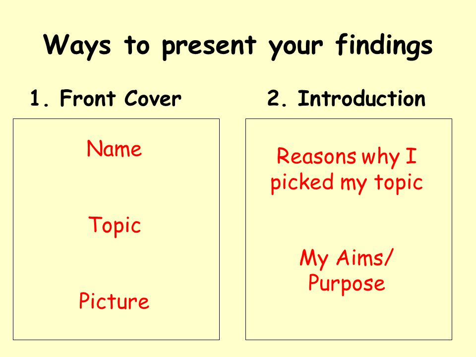 Ways to present your findings 1. Front Cover2.