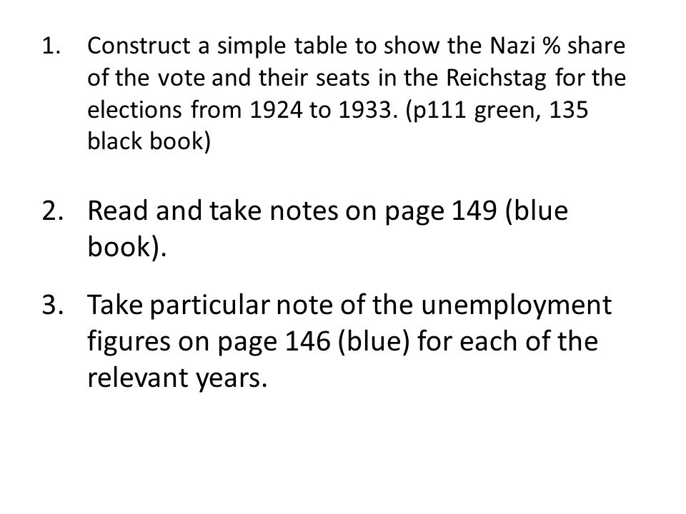 1.Construct a simple table to show the Nazi % share of the vote and their seats in the Reichstag for the elections from 1924 to 1933. (p111 green, 135