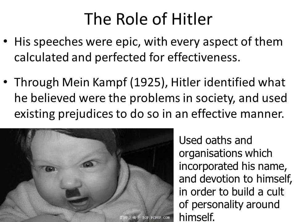 The Role of Hitler His speeches were epic, with every aspect of them calculated and perfected for effectiveness. Through Mein Kampf (1925), Hitler ide