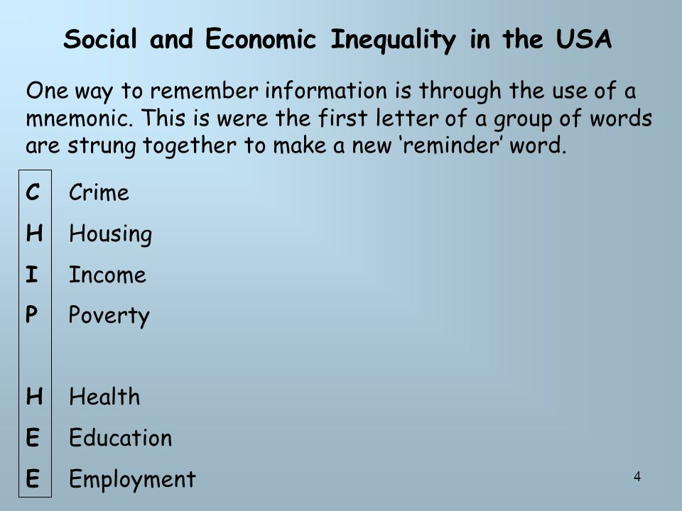 4 Social and Economic Inequality in the USA CHIPHEECHIPHEE Crime Housing Income Poverty Health Education Employment One way to remember information is through the use of a mnemonic.