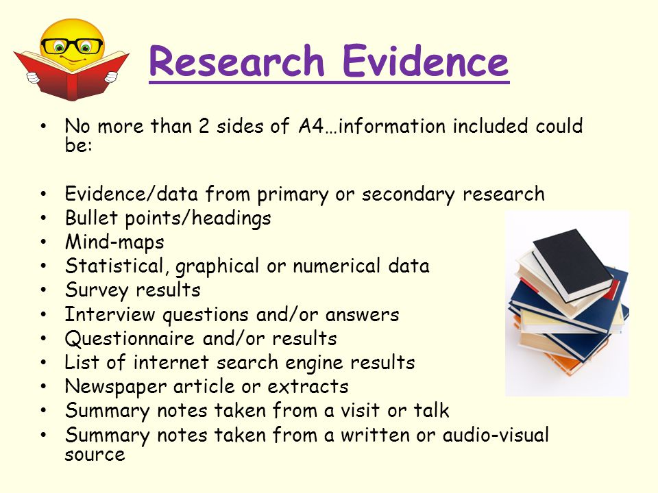 Research Evidence No more than 2 sides of A4…information included could be: Evidence/data from primary or secondary research Bullet points/headings Mi