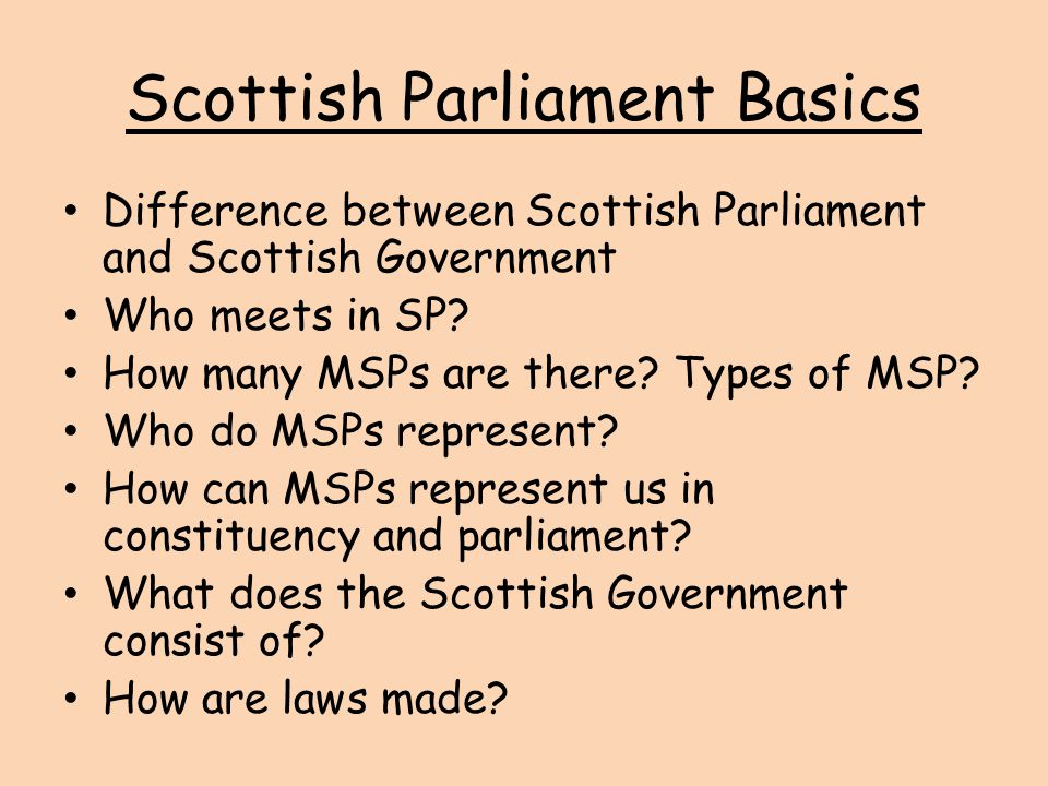 Scottish Parliament Basics Difference between Scottish Parliament and Scottish Government Who meets in SP? How many MSPs are there? Types of MSP? Who