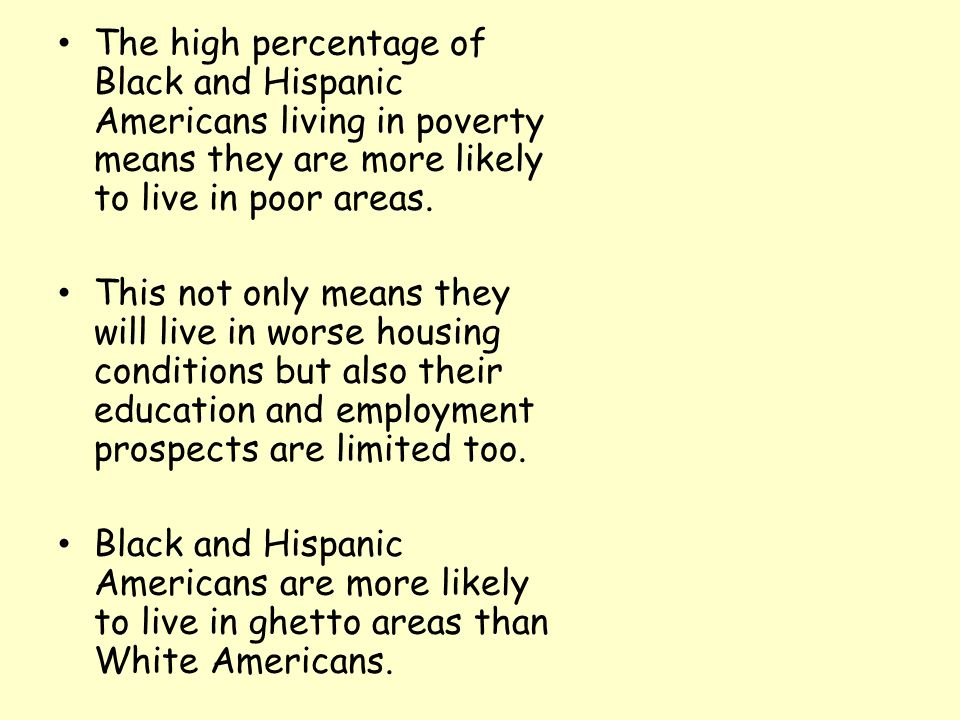 The high percentage of Black and Hispanic Americans living in poverty means they are more likely to live in poor areas.