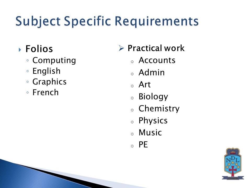  Folios ◦ Computing ◦ English ◦ Graphics ◦ French  Practical work o Accounts o Admin o Art o Biology o Chemistry o Physics o Music o PE