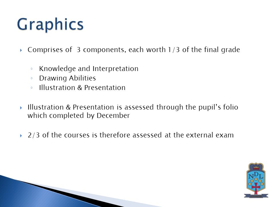  Comprises of 3 components, each worth 1/3 of the final grade ◦ Knowledge and Interpretation ◦ Drawing Abilities ◦ Illustration & Presentation  Illustration & Presentation is assessed through the pupil's folio which completed by December  2/3 of the courses is therefore assessed at the external exam
