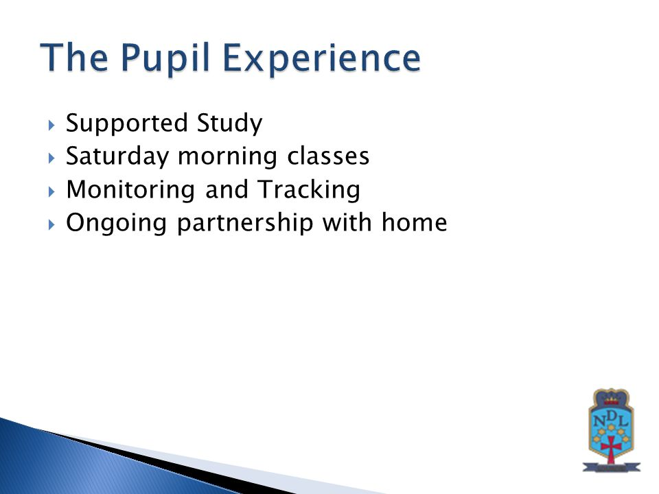  Supported Study  Saturday morning classes  Monitoring and Tracking  Ongoing partnership with home