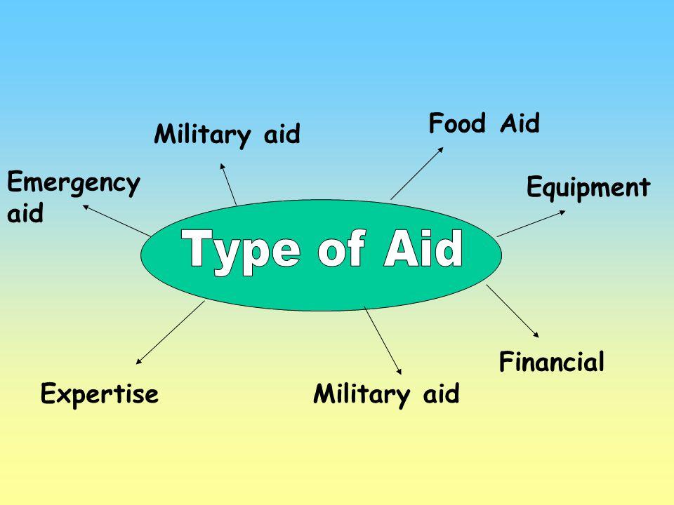 Food Aid Military aid Emergency aid ExpertiseMilitary aid Financial Equipment
