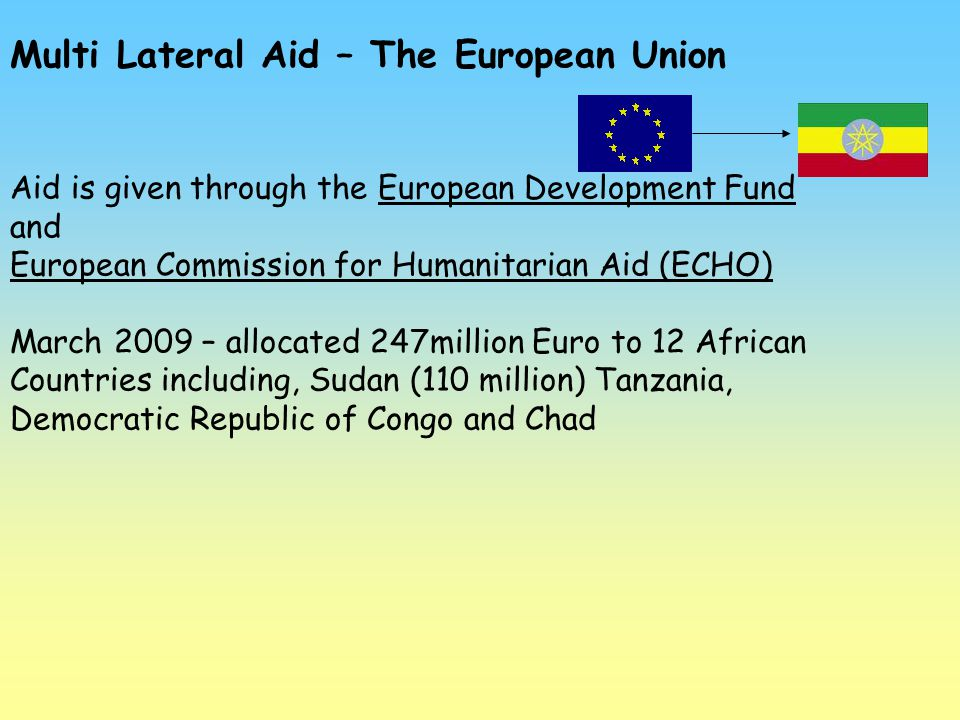 Multi Lateral Aid – The European Union Aid is given through the European Development Fund and European Commission for Humanitarian Aid (ECHO) March 20