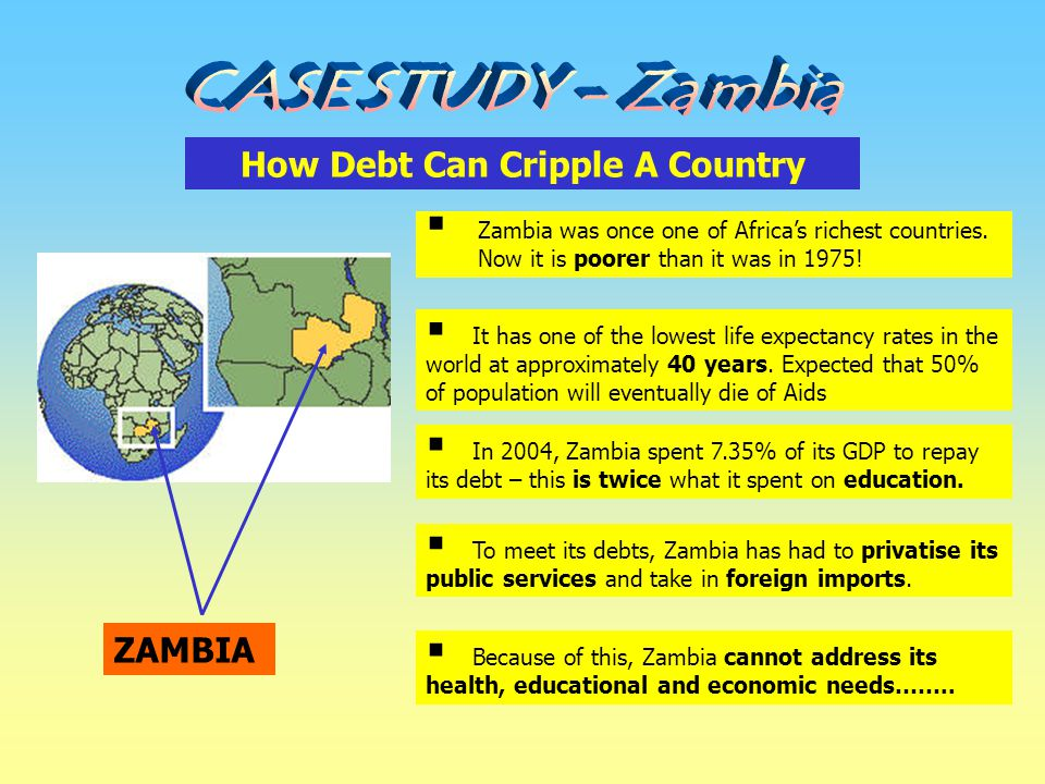How Debt Can Cripple A Country ZAMBIA  Zambia was once one of Africa's richest countries. Now it is poorer than it was in 1975!  It has one of the l