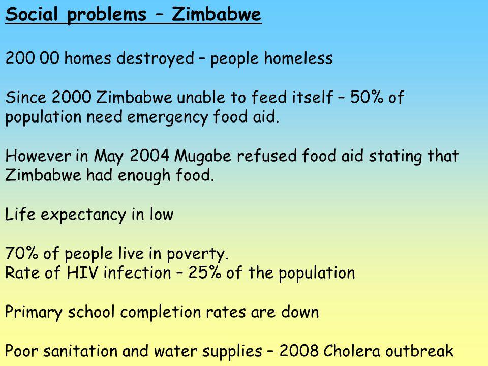 Social problems – Zimbabwe 200 00 homes destroyed – people homeless Since 2000 Zimbabwe unable to feed itself – 50% of population need emergency food