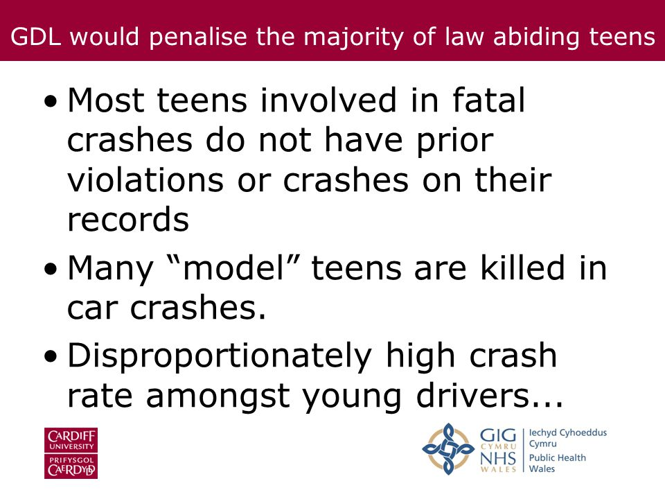 Most teens involved in fatal crashes do not have prior violations or crashes on their records Many model teens are killed in car crashes.