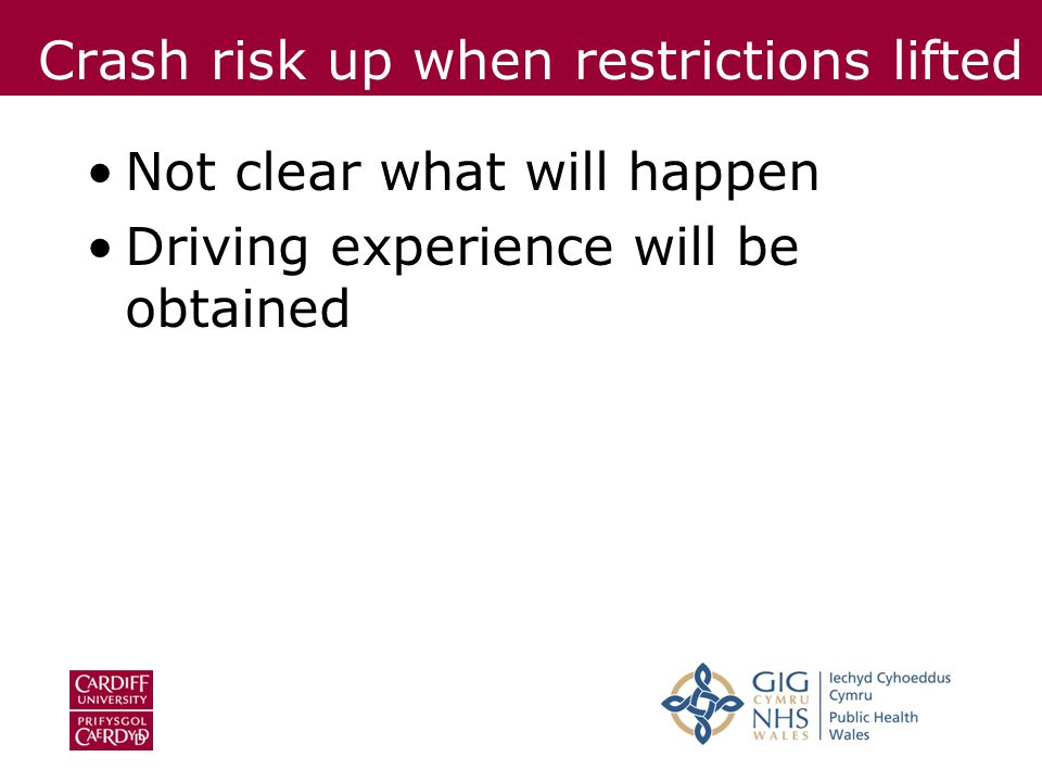 Crash risk up when restrictions lifted Not clear what will happen Driving experience will be obtained