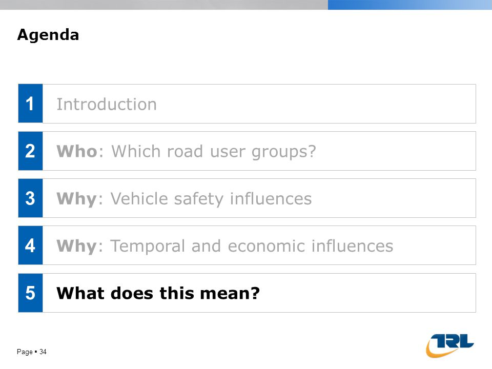 Page  34 Agenda Who: Which road user groups? Why: Vehicle safety influences Why: Temporal and economic influences What does this mean? 1 2 3 4 5 Intr