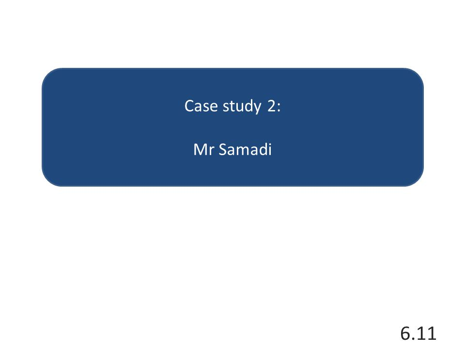 Case study 2: Mr Samadi 6.11