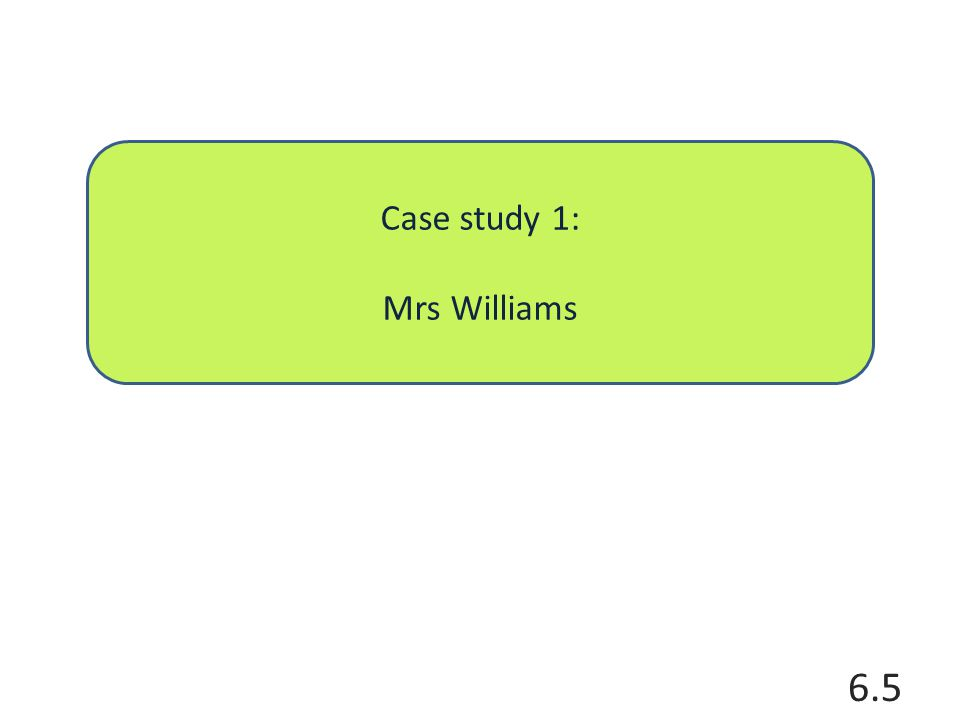 Case study 1: Mrs Williams 6.5