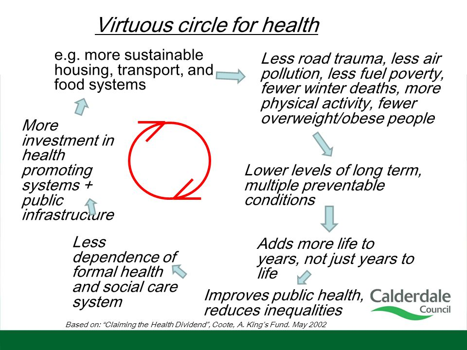 Improves public health, reduces inequalities Less road trauma, less air pollution, less fuel poverty, fewer winter deaths, more physical activity, few