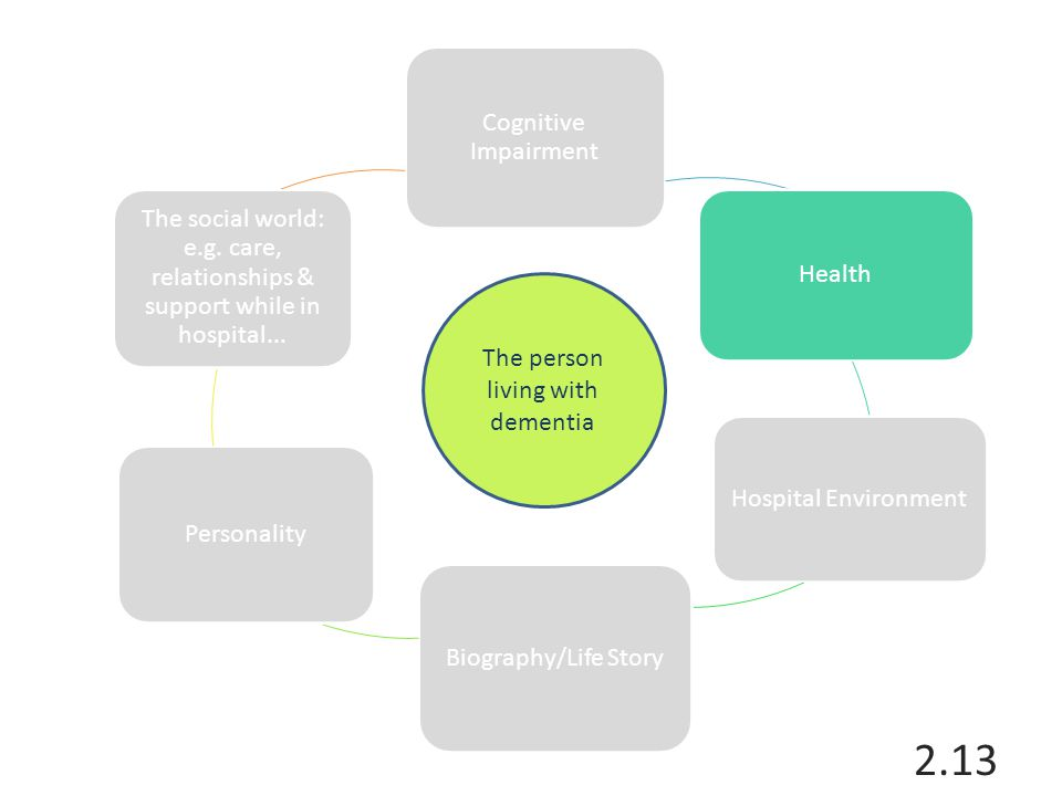 Cognitive Impairment Health Hospital Environment Biography/Life Story Personality The social world: e.g. care, relationships & support while in hospit