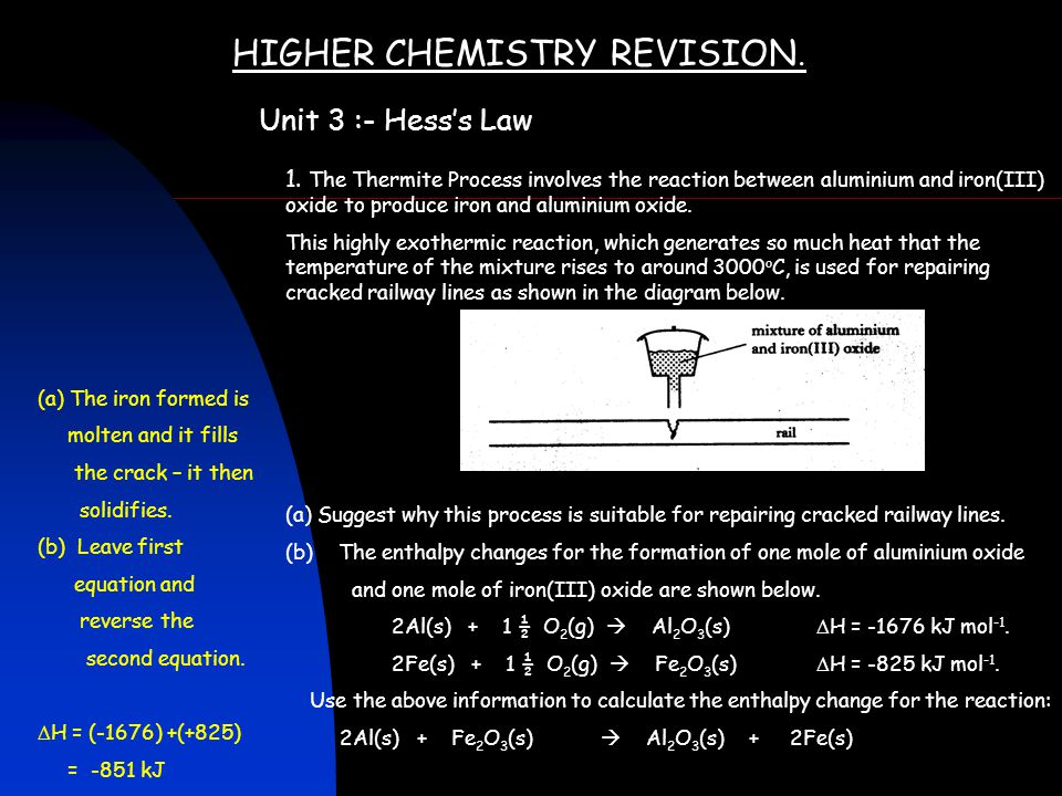 HIGHER CHEMISTRY REVISION. Unit 3 :- Hess's Law 1. The Thermite Process involves the reaction between aluminium and iron(III) oxide to produce iron an