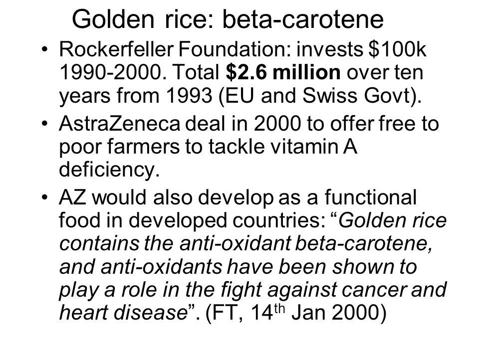 Golden rice: beta-carotene Rockerfeller Foundation: invests $100k 1990-2000.