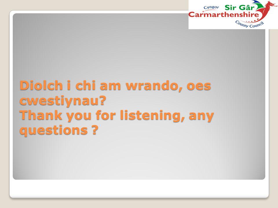 Diolch i chi am wrando, oes cwestiynau? Thank you for listening, any questions ?