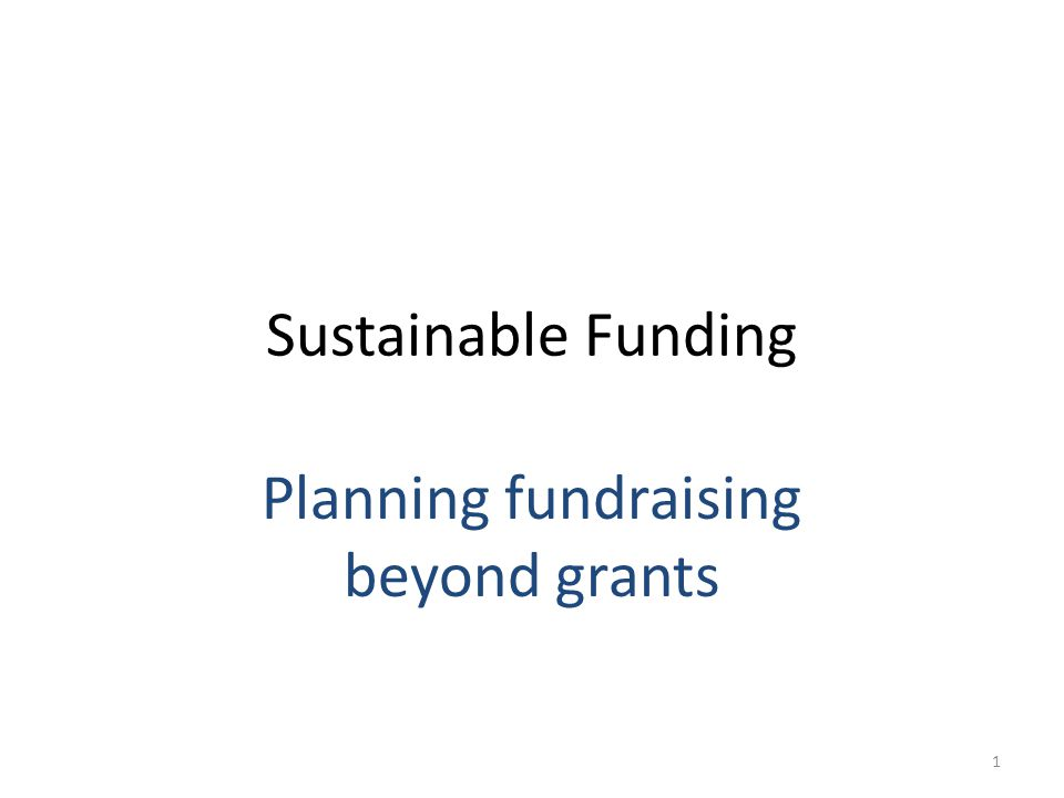 Sustainable Funding Planning fundraising beyond grants 1