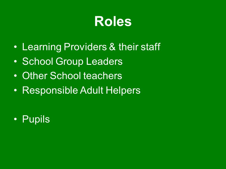 Roles Learning Providers & their staff School Group Leaders Other School teachers Responsible Adult Helpers Pupils