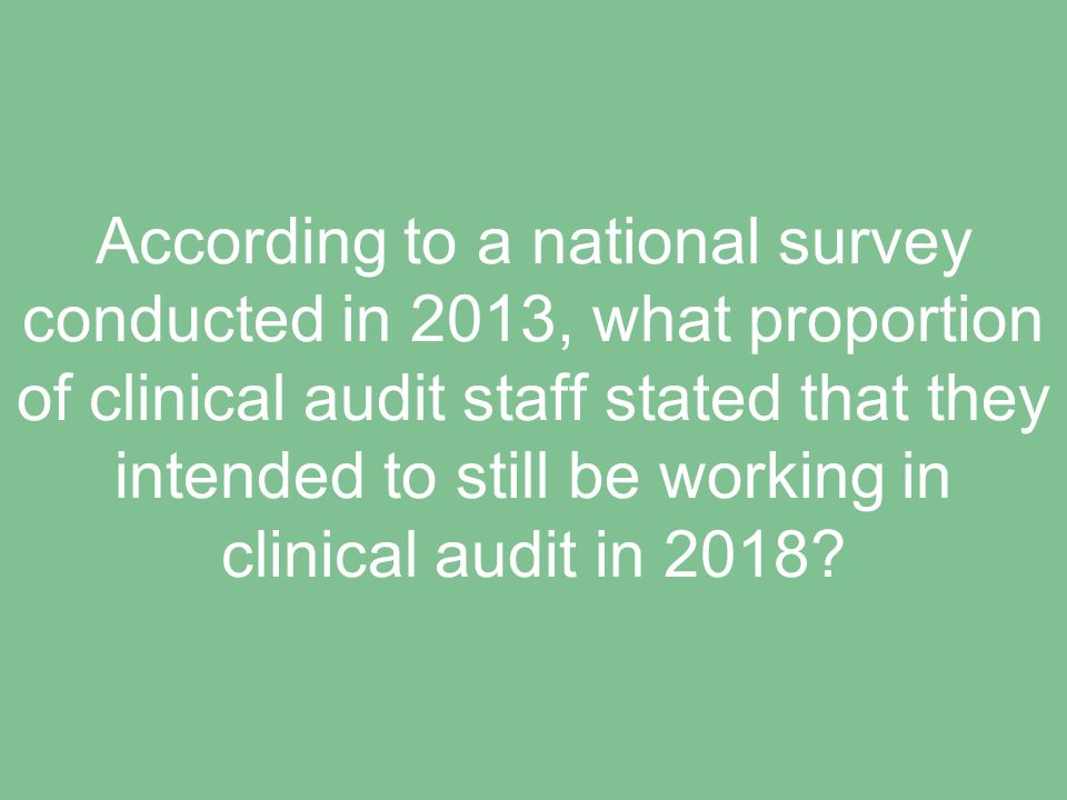 According to a national survey conducted in 2013, what proportion of clinical audit staff stated that they intended to still be working in clinical audit in 2018?