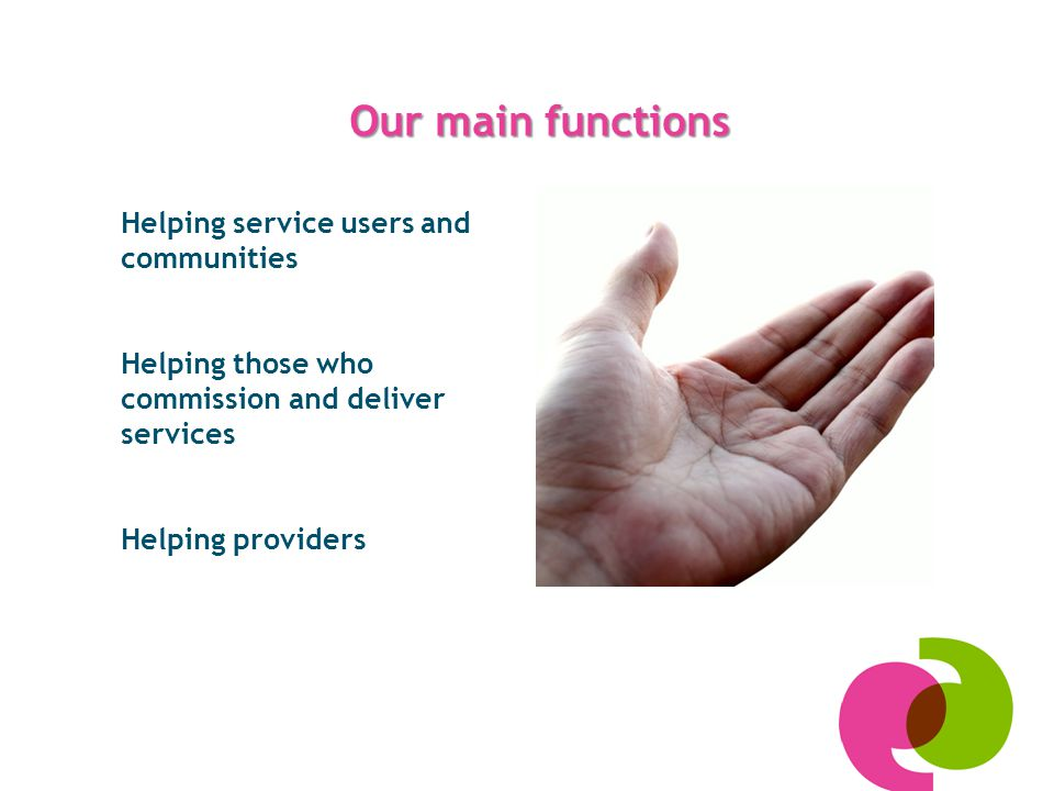 Our main functions Helping service users and communities Helping those who commission and deliver services Helping providers