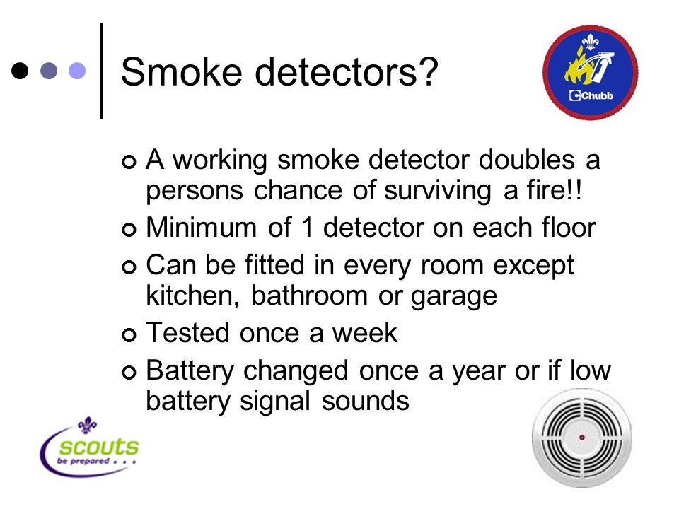 Smoke detectors. A working smoke detector doubles a persons chance of surviving a fire!.