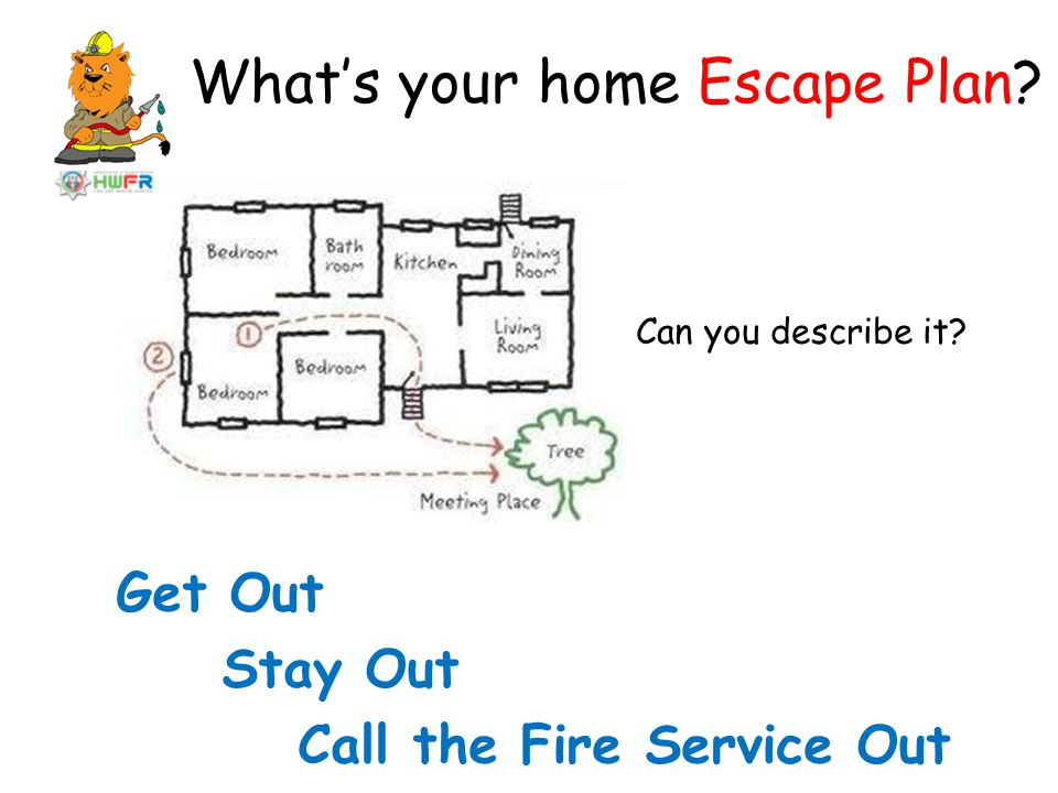 What's your home Escape Plan? Can you describe it? Get Out Stay Out Call the Fire Service Out