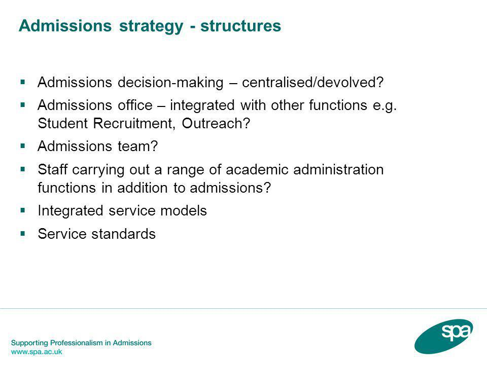 Admissions strategy - structures  Admissions decision-making – centralised/devolved?  Admissions office – integrated with other functions e.g. Stude
