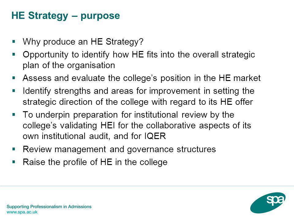 HE Strategy – purpose  Why produce an HE Strategy.
