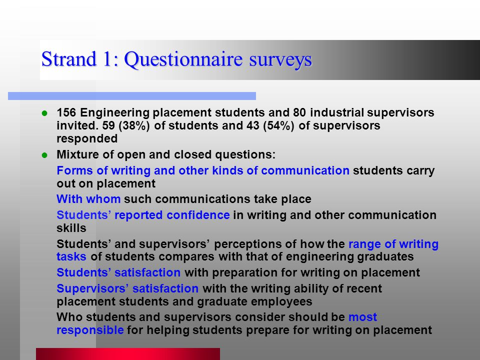 Strand 1: Questionnaire surveys 156 Engineering placement students and 80 industrial supervisors invited.