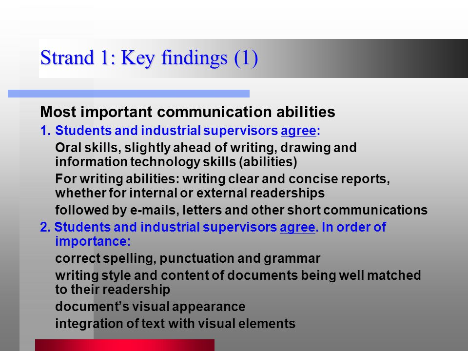 Strand 1: Key findings (1) Most important communication abilities 1.Students and industrial supervisors agree: Oral skills, slightly ahead of writing, drawing and information technology skills (abilities) For writing abilities: writing clear and concise reports, whether for internal or external readerships followed by e-mails, letters and other short communications 2.
