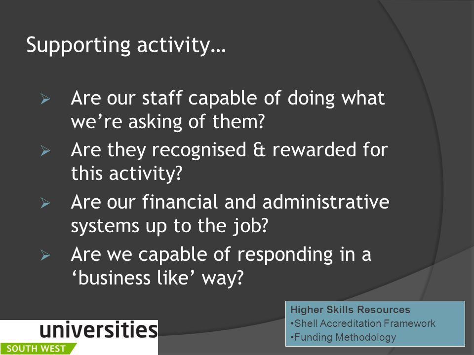 Supporting activity…  Are our staff capable of doing what we're asking of them.