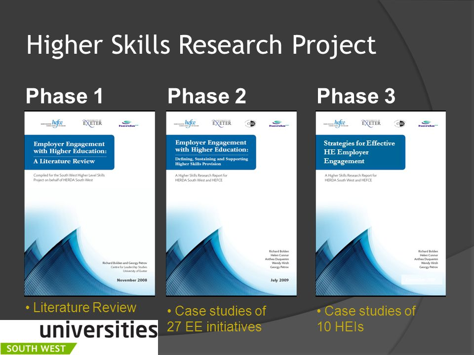 Higher Skills Research Project  April 2007 - Dec 2009  Over 150 reports reviewed  Over 150 interviews conducted  In approx 25 HEIs and 10 FECs  Over 30 employers and employer groups consulted  Case studies in all English regions