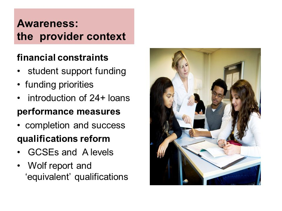 Awareness: the provider context financial constraints student support funding funding priorities introduction of 24+ loans performance measures completion and success qualifications reform GCSEs and A levels Wolf report and 'equivalent' qualifications