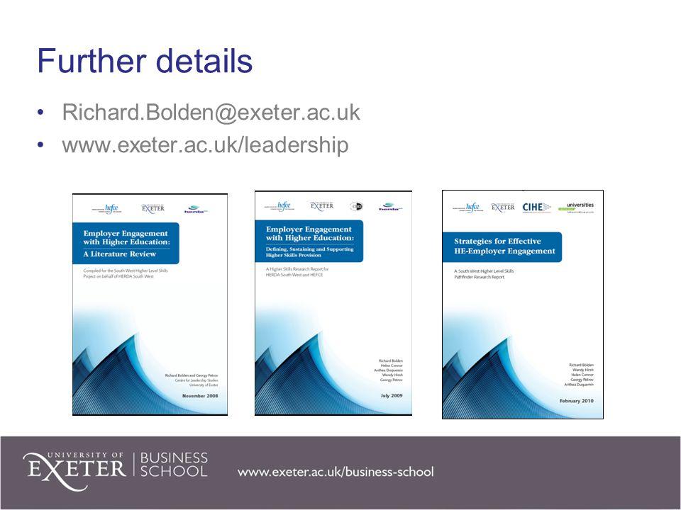 Further details Richard.Bolden@exeter.ac.uk www.exeter.ac.uk/leadership
