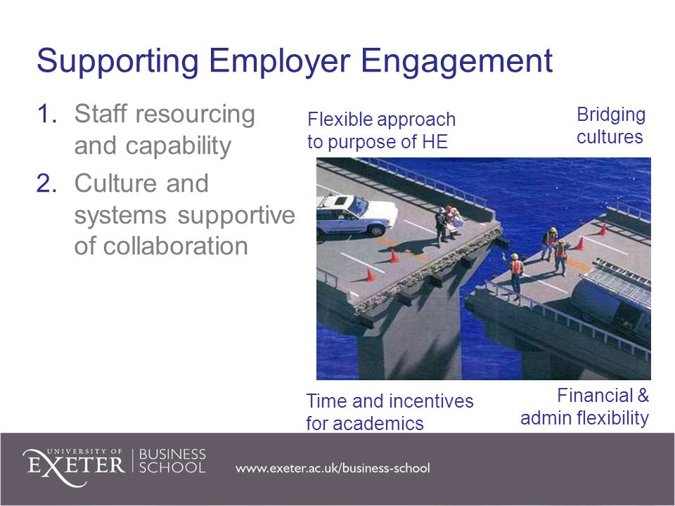 Supporting Employer Engagement 1.Staff resourcing and capability 2.Culture and systems supportive of collaboration Flexible approach to purpose of HE Bridging cultures Time and incentives for academics Financial & admin flexibility