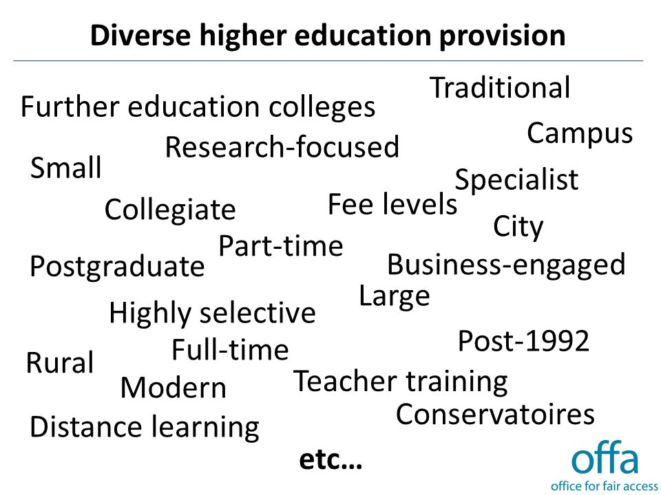 Diverse higher education provision Small Traditional Conservatoires Business-engaged Research-focused Highly selective Further education colleges City Teacher training Post-1992 Large Modern Fee levels Campus Collegiate Postgraduate Distance learning Specialist Rural etc… Part-time Full-time