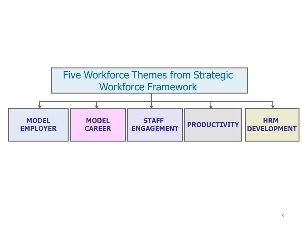 MODEL EMPLOYER MODEL CAREER STAFF ENGAGEMENT PRODUCTIVITY Five Workforce Themes from Strategic Workforce Framework HRM DEVELOPMENT 3