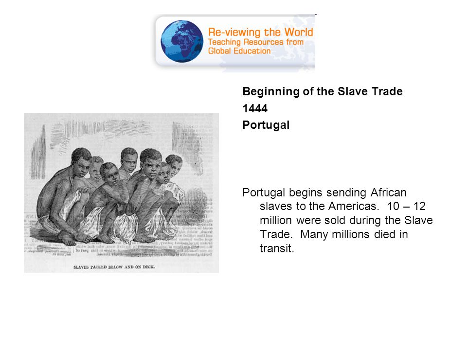 Beginning of the Slave Trade 1444 Portugal Portugal begins sending African slaves to the Americas.