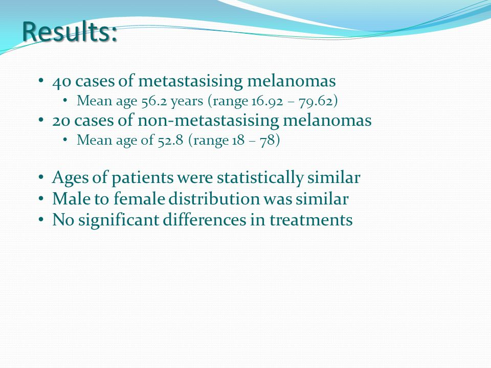 Results: 40 cases of metastasising melanomas Mean age 56.2 years (range 16.92 – 79.62) 20 cases of non-metastasising melanomas Mean age of 52.8 (range 18 – 78) Ages of patients were statistically similar Male to female distribution was similar No significant differences in treatments